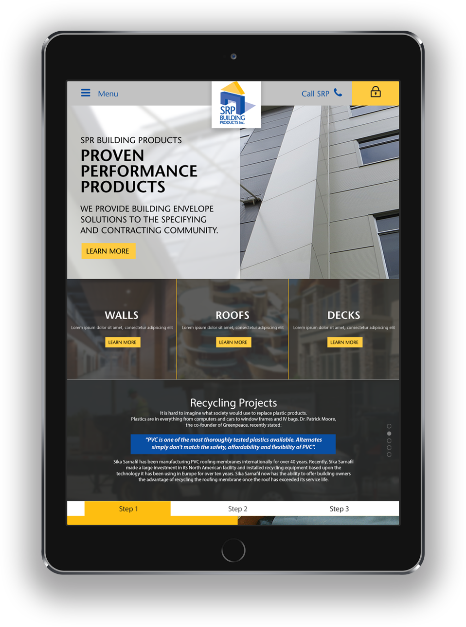SRP responsive web design for tablets