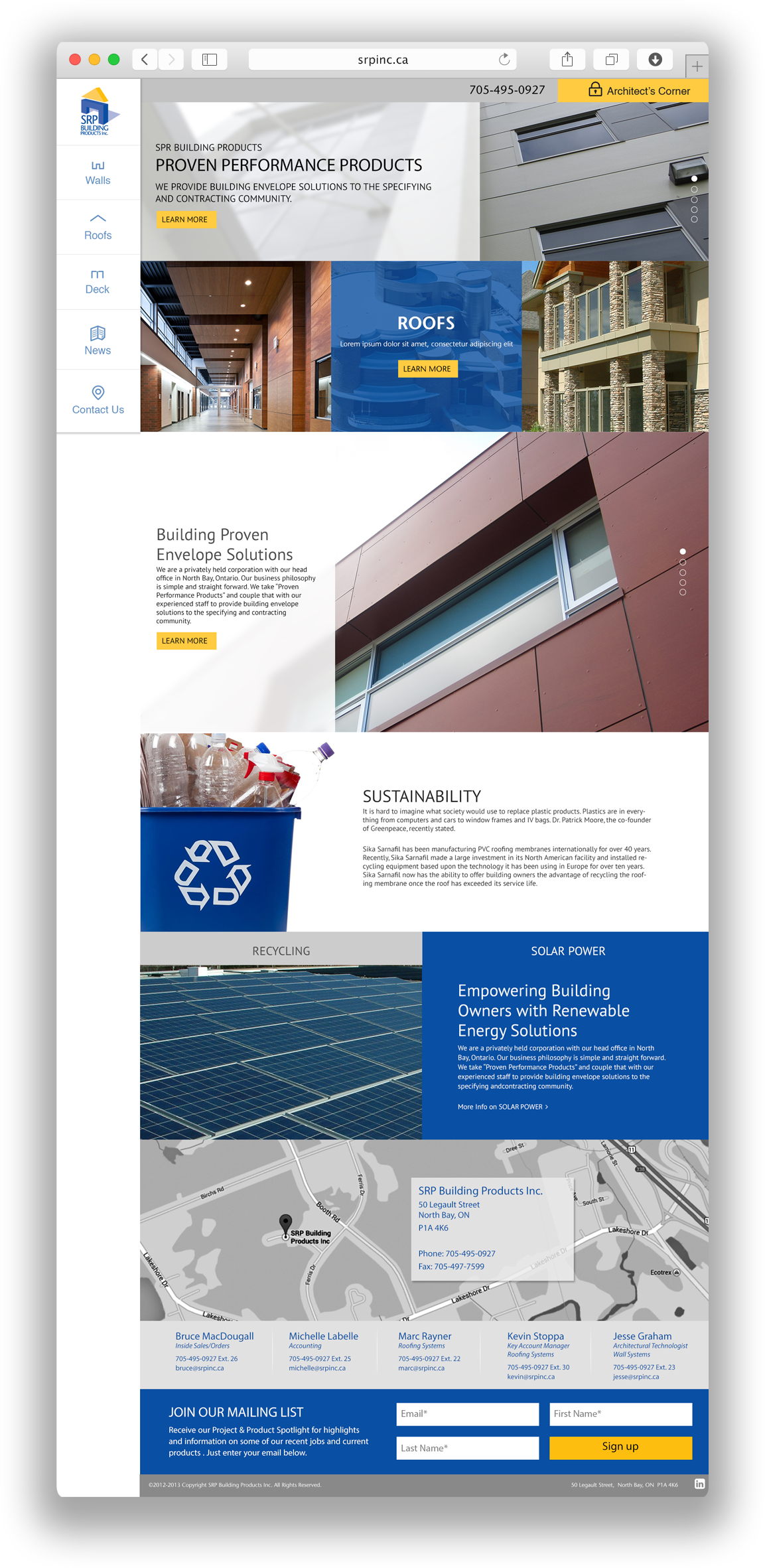 SRP Building Products website design
